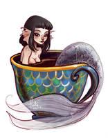 coffeecup mermaid by Fukari