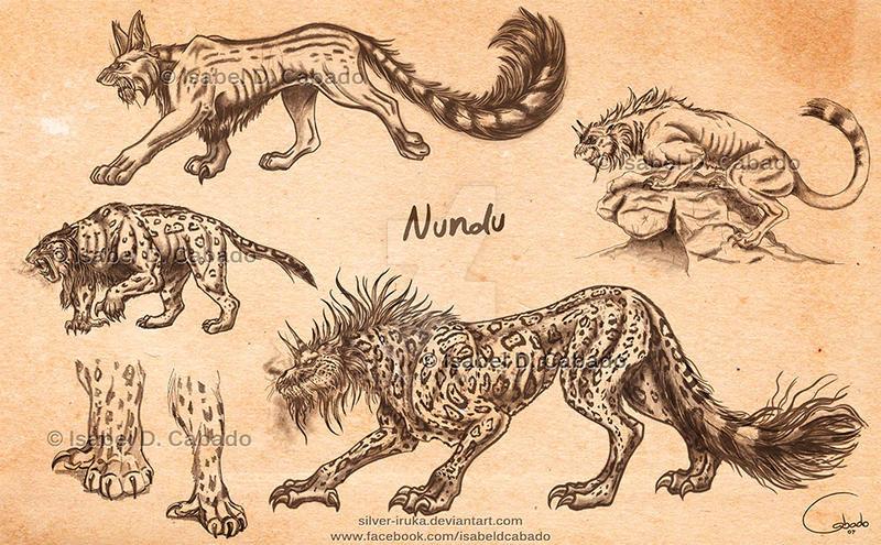 Nundu sketches by Silver-Iruka