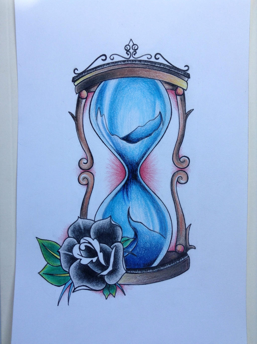 Hourglass tattoo design. Colored pencil by TheDilatedEye ...