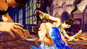 Street Fighter 5 Barefoot Chunli Swimsuit kick