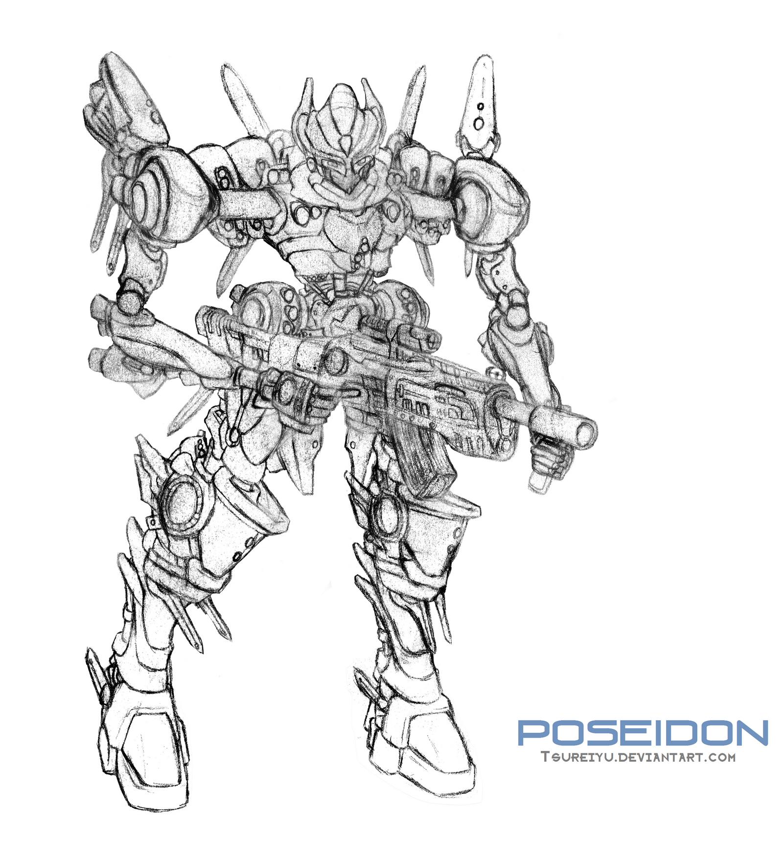 Mecha - Poseidon (lineart) by Tsureiyu