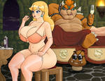 Peach in Bowser's lair by eucalipto