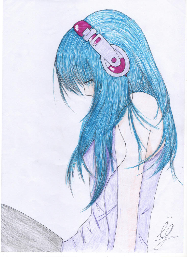 How To Draw Anime Girl With Headphones
