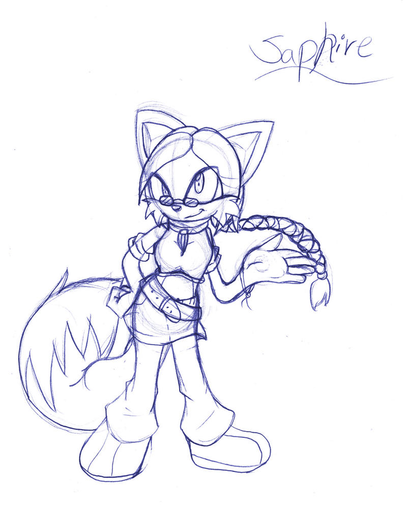 Saphire .:Full Sketch:. by SonicHearts