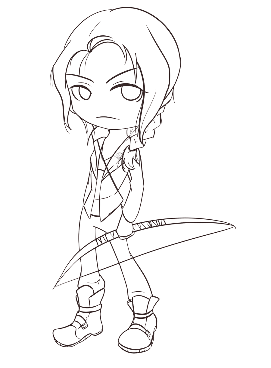 WIP - Katniss Chibi by SonicHearts