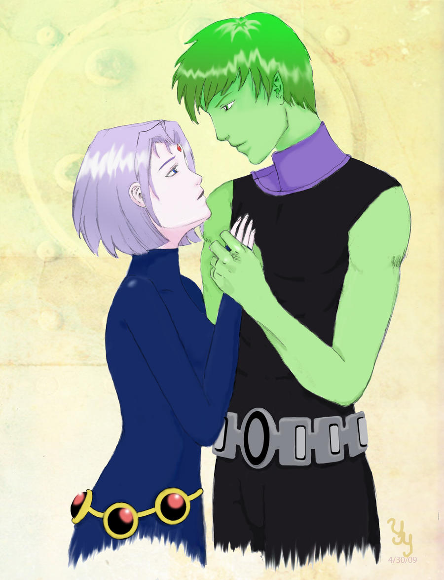 Beast boy and Raven by Chisou