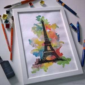 Watercolor Eiffel Tower (with tools) by jointshadow
