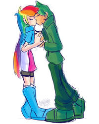 Rainbow Dash x Green Thunder Kiss Human Edition by blaa6