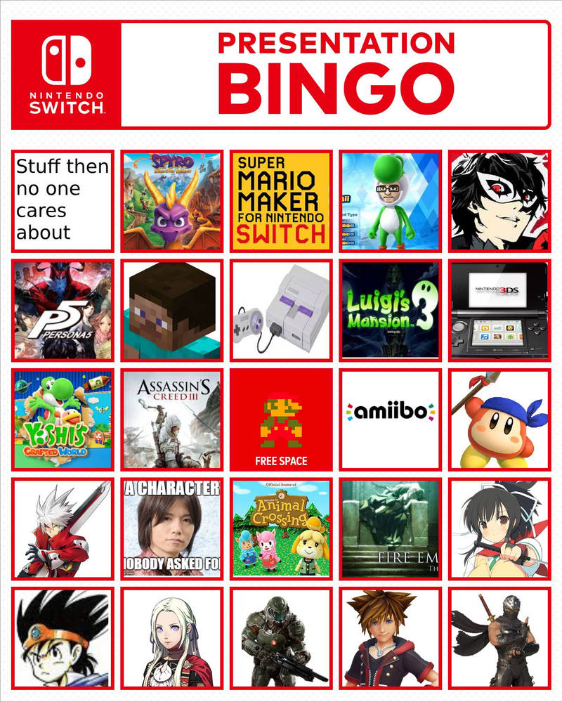 Nintendo Direct 13 febuary 2019 bingo by Antogames on DeviantArt