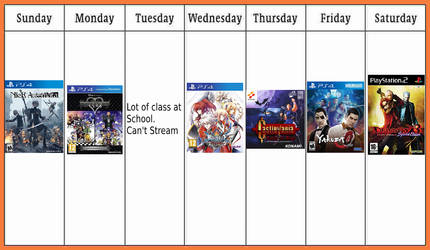 My calendar for the next stream by Antogames