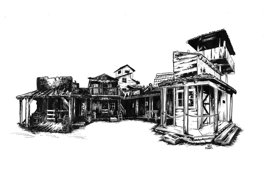 the Wild West Town by sketchmarcksOld Western Town Drawing