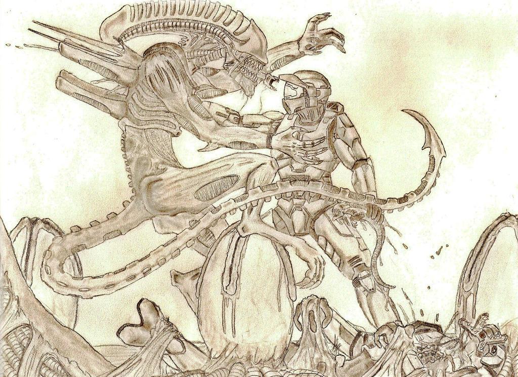 Master Chief vs. Xenomorph by Ookami-Kodomo on DeviantArt
