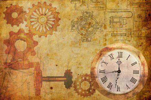 steampunk clock walpaper