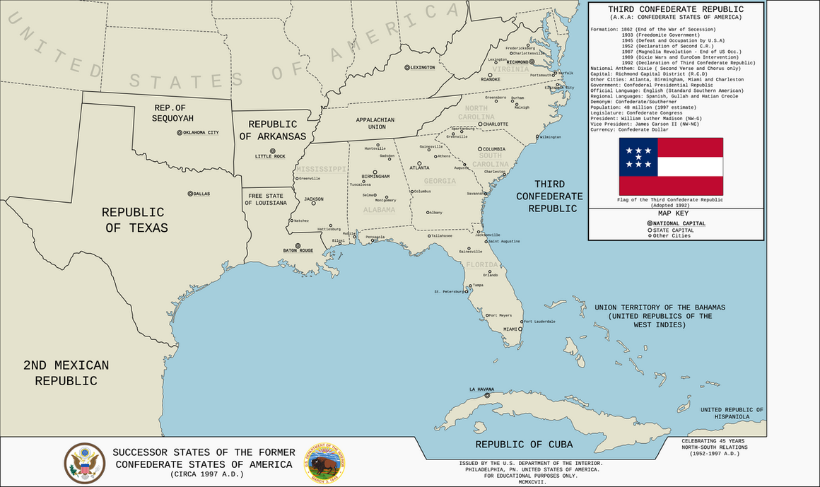 Map of the Third Confederate Republic TL191 by KitFisto1997 on