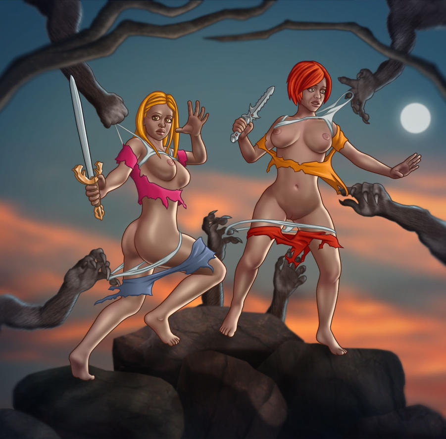 Buffy And Willow  Full Moon Fight   Commission By  by Serendipity1st