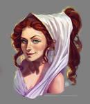 portrait of a smirky greek gal