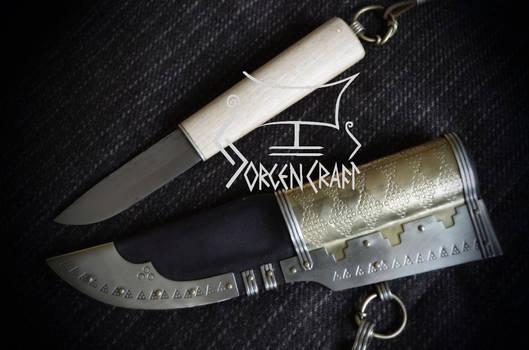 Viking knife with decorated sheath