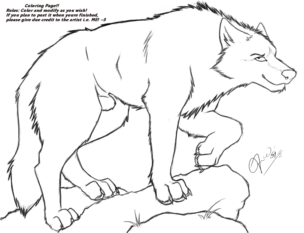 Anime winged wolf coloring pages