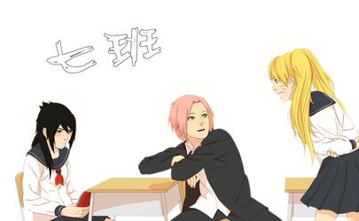 Konoha High School - Team 7(gender-bender) by steampunkskulls