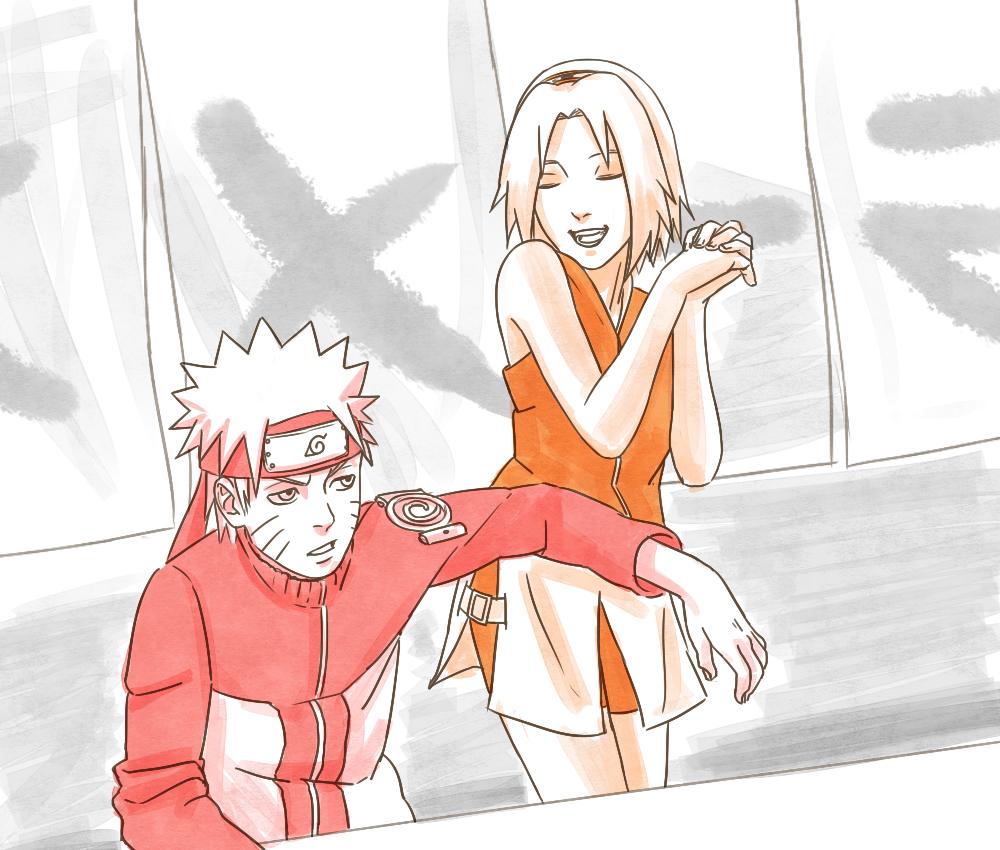 Naruto and Sakura swap by steampunkskulls