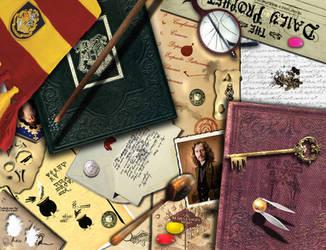 Harry Potter Desk Wallpaper by eMelody