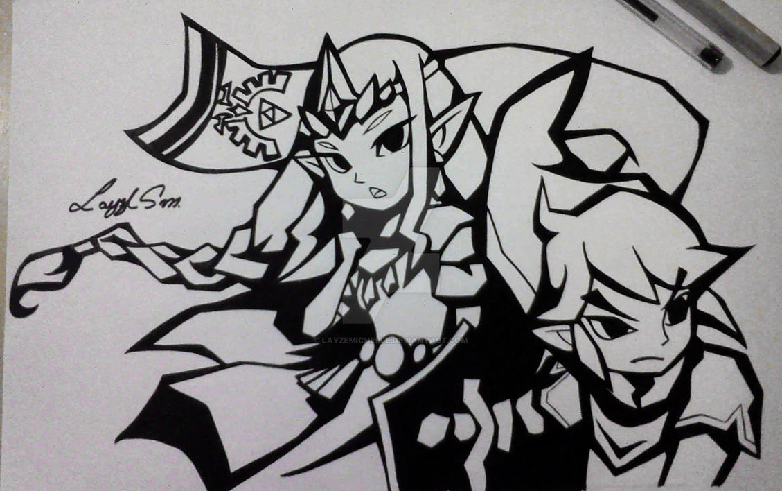 Zelda and Link from Zelda Warriors by LayzeMichelle