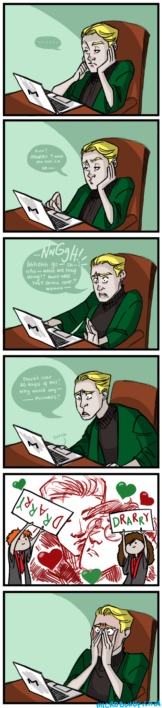 Malfoy reacts to DRARRY by Microbluefish