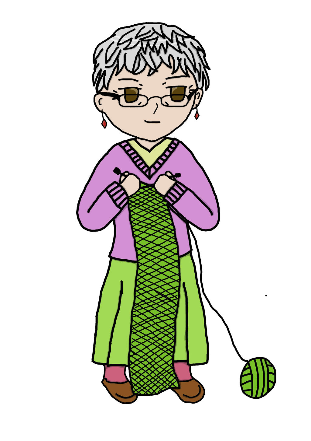 Grandma Knitting Spaghetti : Chibi grandma knitting by hawkblade on deviantart