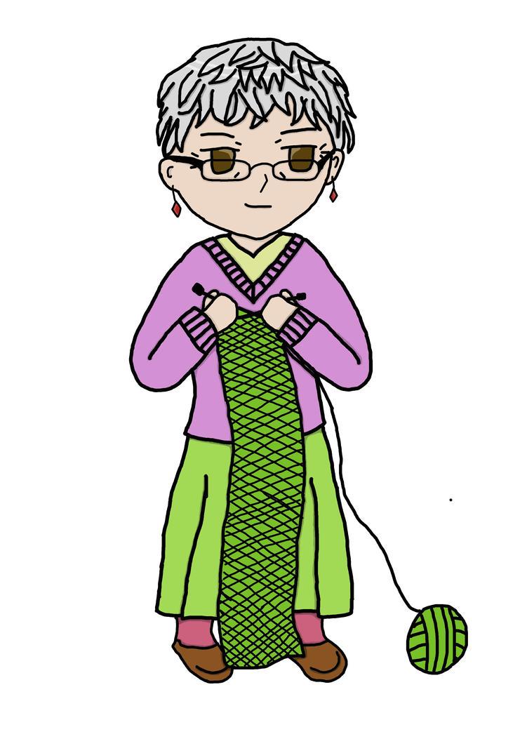 Grandma Knitting Cartoon : Chibi grandma knitting by hawkblade on deviantart