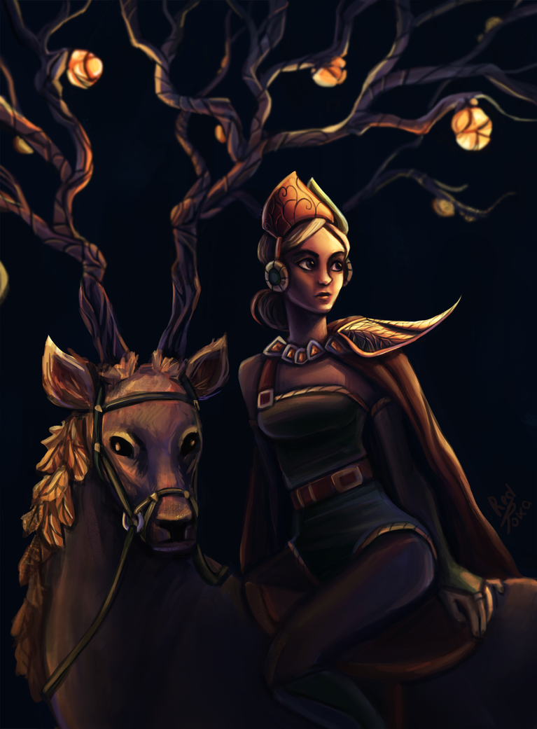 Girl and the Deer by LilianMuttonfudge