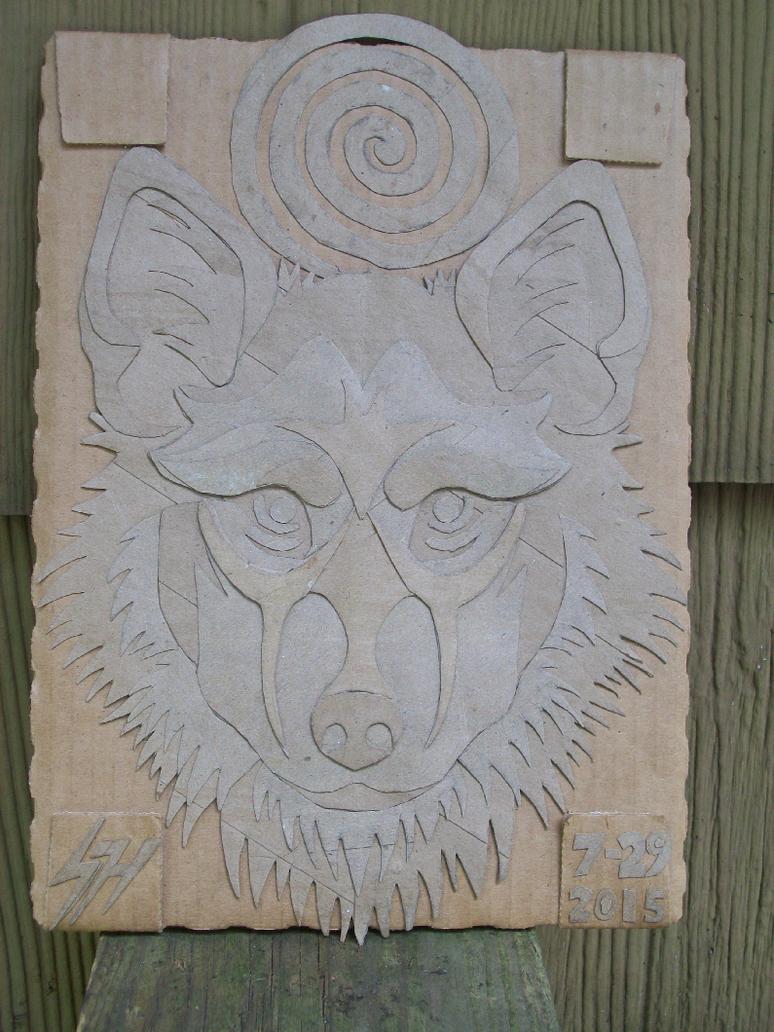 Cardboard Wolf by KysonKyoko