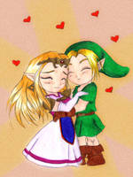 Link and Zelda...colored by Sahan