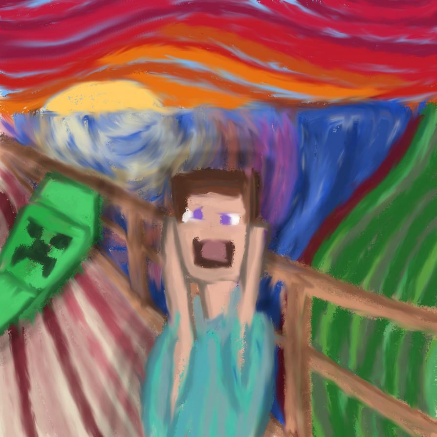 the scream in minecraft by rolifri on deviantart