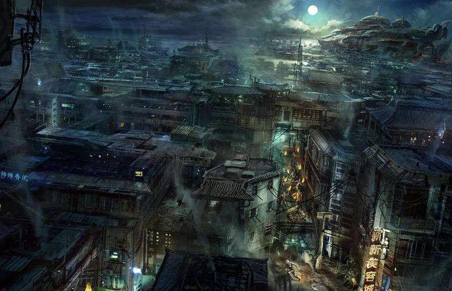 chinese city by jonone