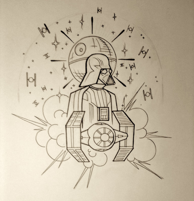 Traditional Tattoo Line Drawing : Neo traditional star wars shoulder piece wip by