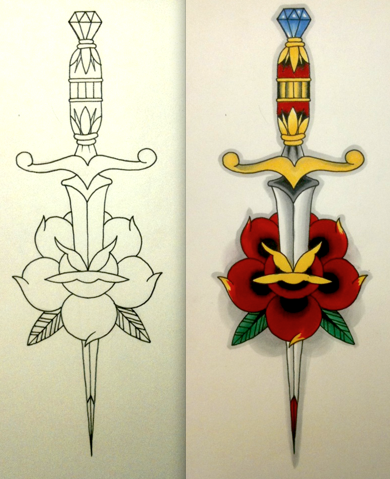 Dagger Tattoo Outline: Neo-Traditional Dagger And Rose By BadFishBenny On DeviantArt