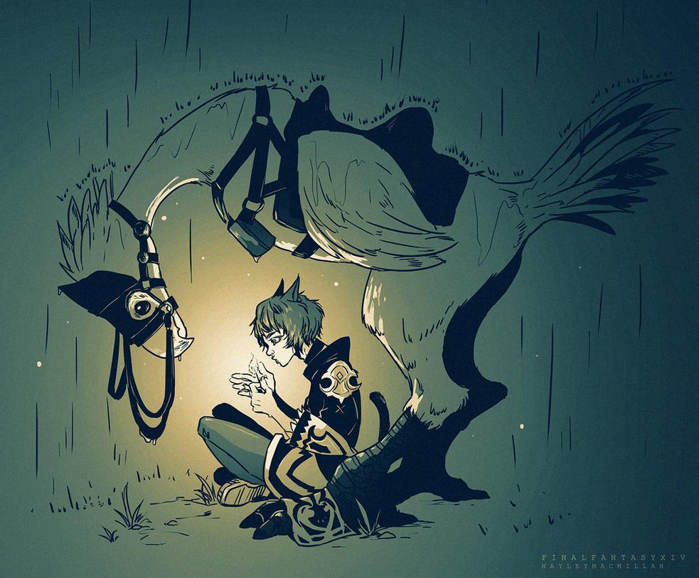Raining Chocobo by tinhan