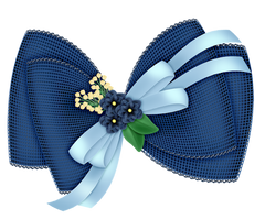 Blue Bow Designed PNG