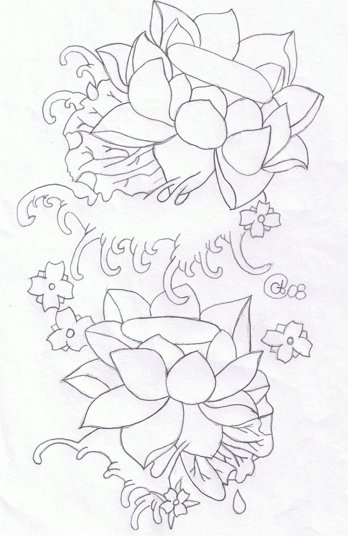 Lotus Sketch Tattoos
