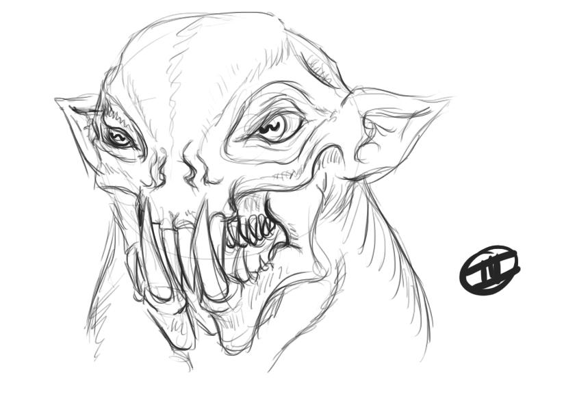 Alien Head Drawing Alien Head by Myrdah