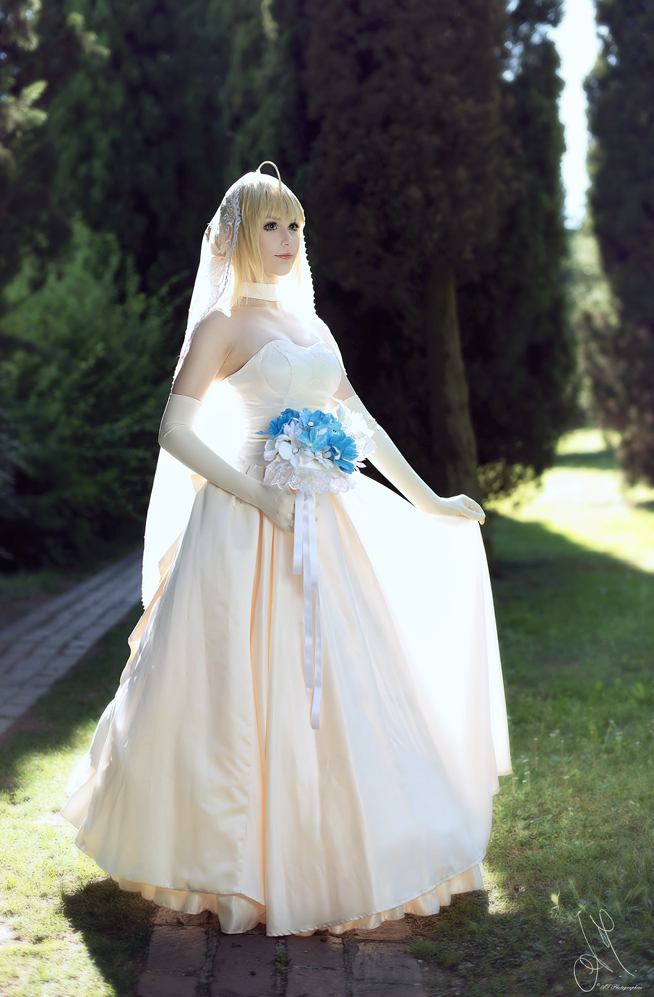 fatestay night saber wedding dress by kiaraberry on