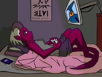 Tiefling Girl Playing Video Games