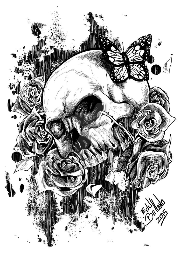 Skull And Roses Vector By Edubalbino On Deviantart