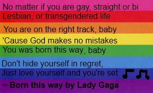 Born this way lyrics Pro-LBGT by fanpoop97