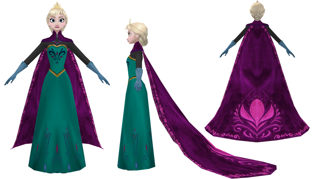 MMD [W.I.P.] Coronation Elsa by 0-0-Alice-0-0 on DeviantArt Frozen Coloring Pages Young Anna