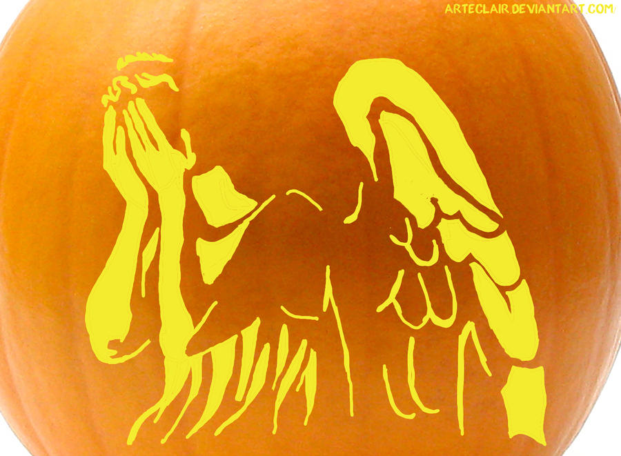 weeping angel pumpkin stencil by arteclair
