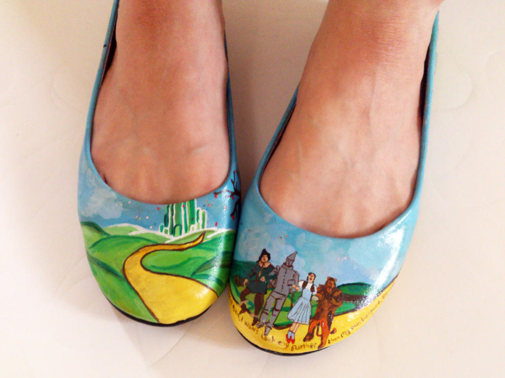 Wizard Of Oz Hand Painted Shoes Ballerina Pumps By