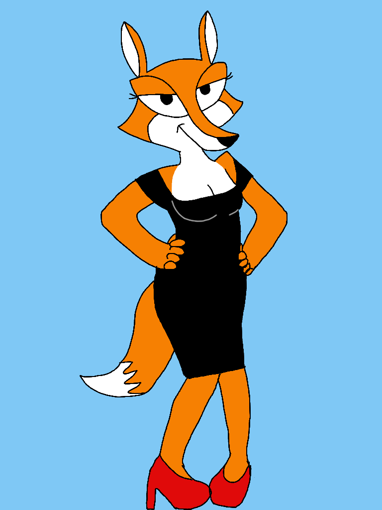 Fauna Fox in a Sqaure Neck Dress by CrawfordJenny
