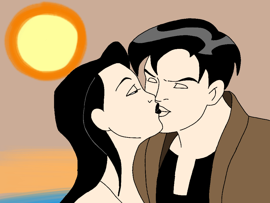 Terry and Dana Kissing on the Beach by CrawfordJenny