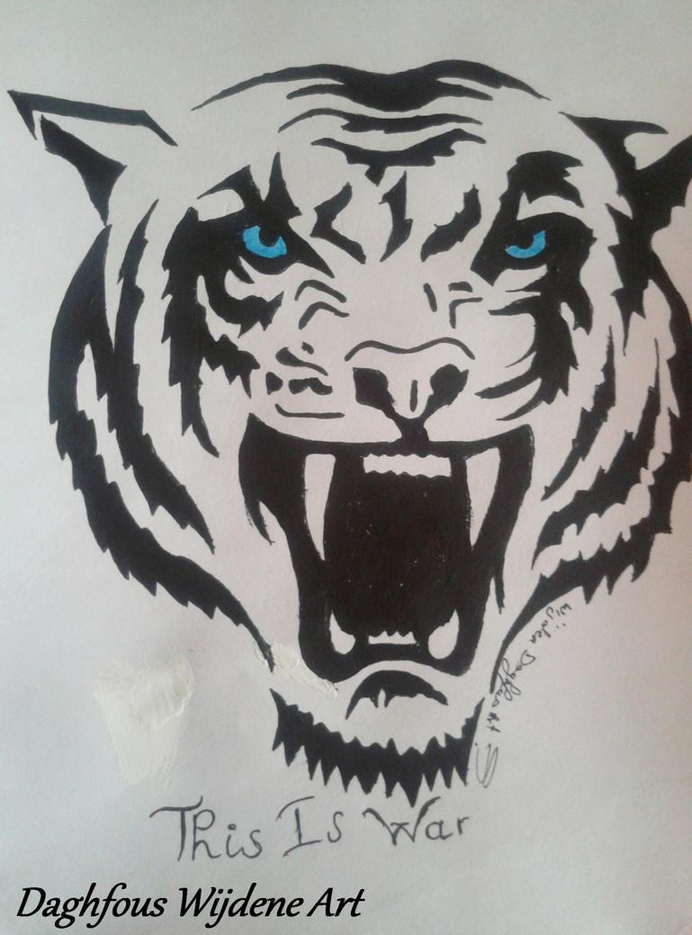 Рисунок оскал волка для тату на